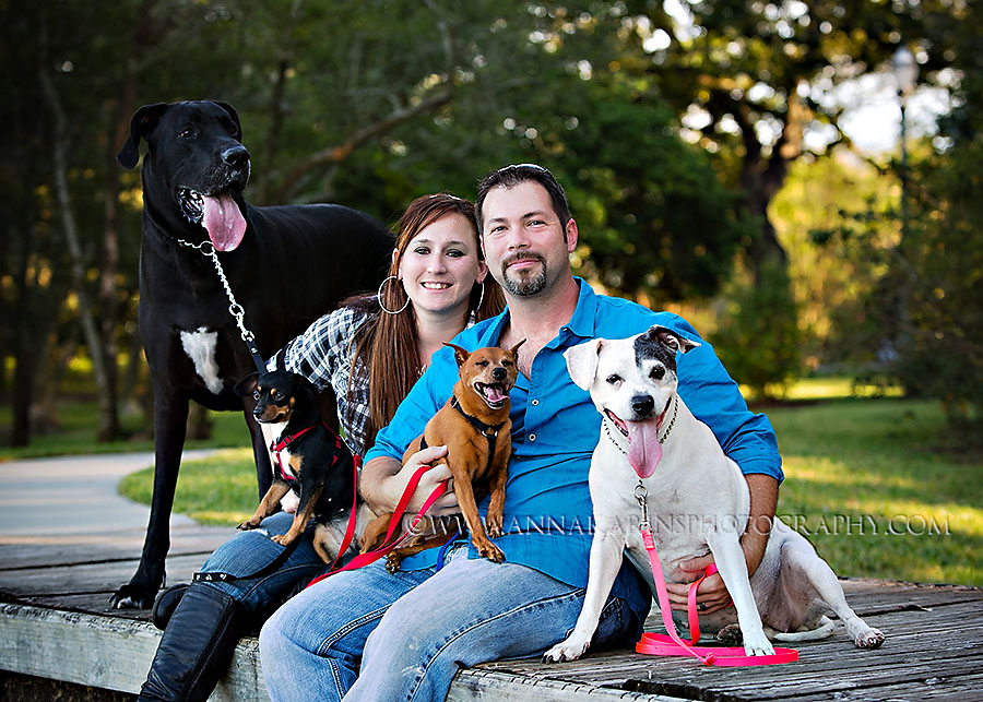 Dog Photographer Baton Rouge, Couple with four dogs, GreatDane to mutt  and Chihuahua