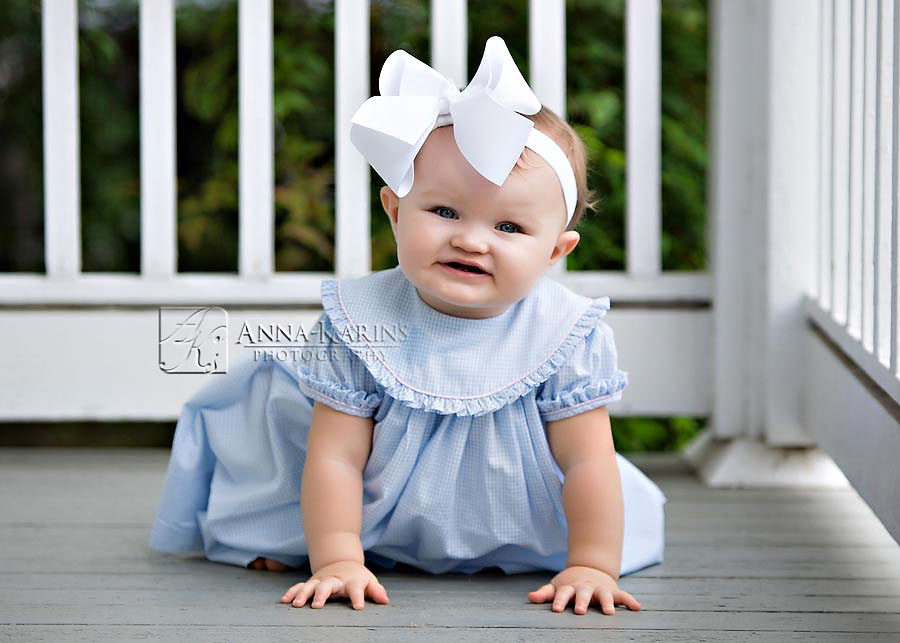 Beautiful baby girl with blue eyes, southern little baby with hair bow, Baton Rouge Photographer