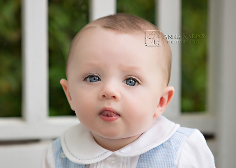 Blue eyes, baby boy outside, Sweet six month old baby boy