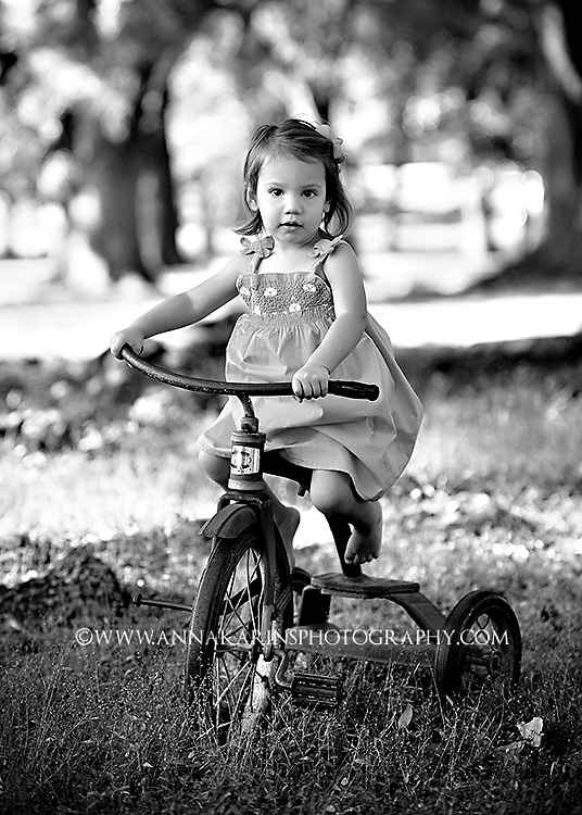 Tricycle, little girl on trike