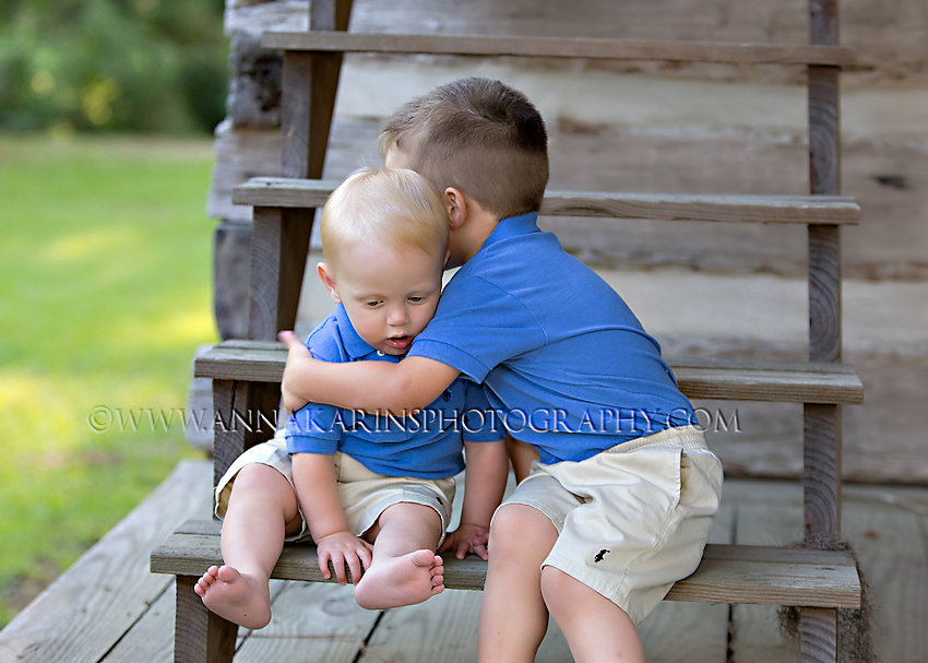 Adorable hugging brothers