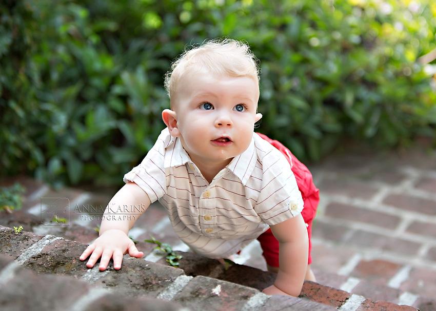 baby boy climbing stairs