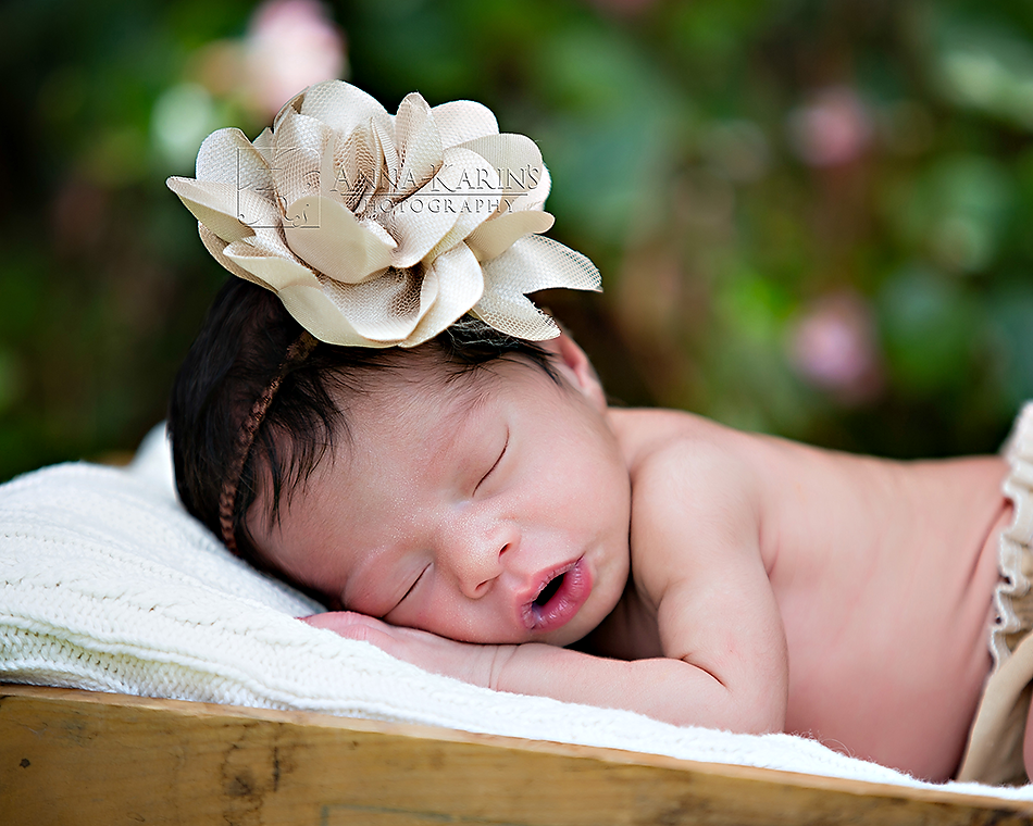 Beautiful newborn baby girl outside with bow in her hair, sleeping in a basket