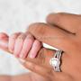 Newborn baby hand with mama