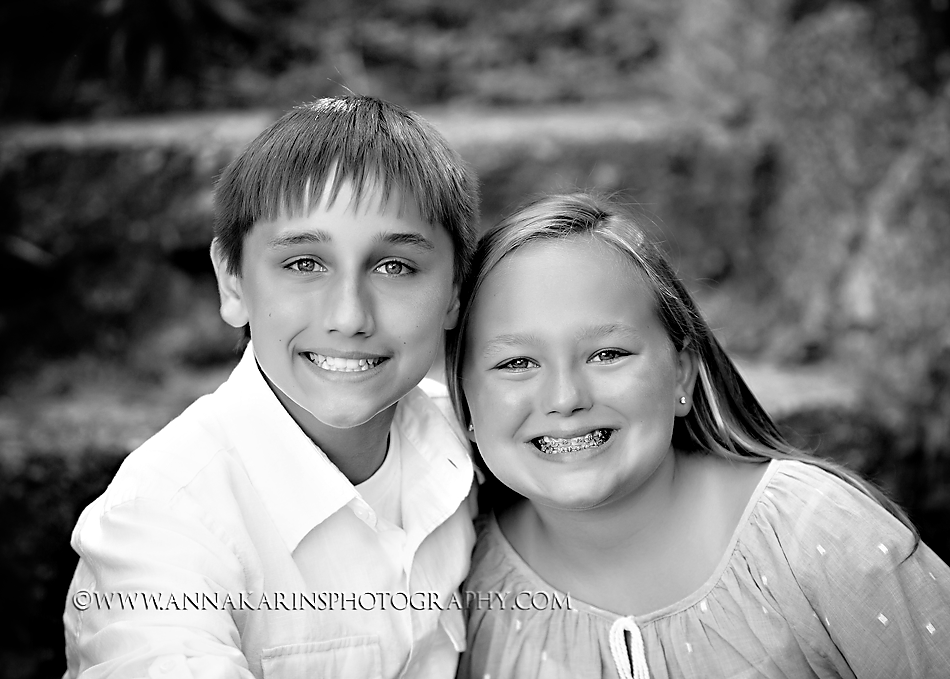 bw timeless sibling portrait, tween siblings in bw
