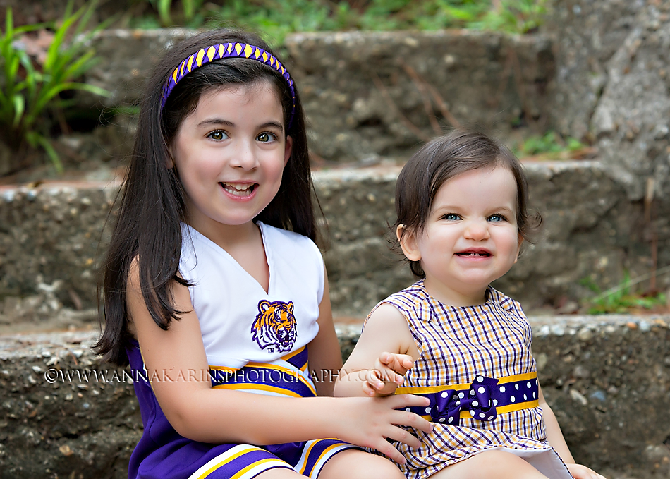 litle sister in LSU cheerleader outfits