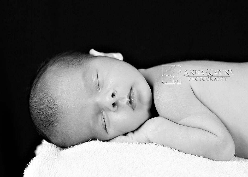 newborn sleeping baby, bw newborn portrait