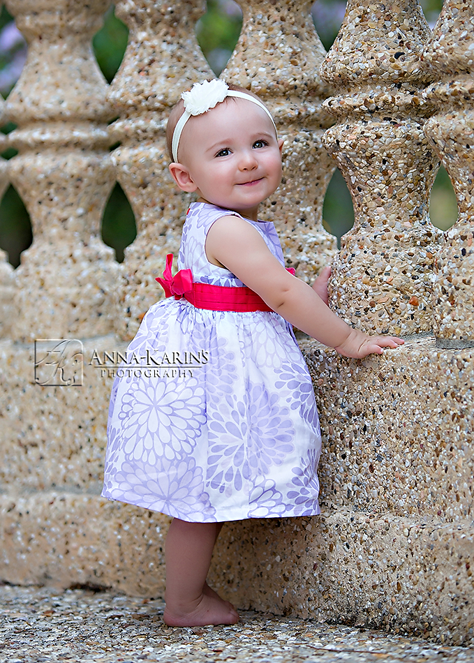 Little baby girl standing up